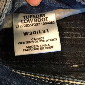 Silver Jeans Jeans - Silver Tuesday low boot jeans. W30/L31